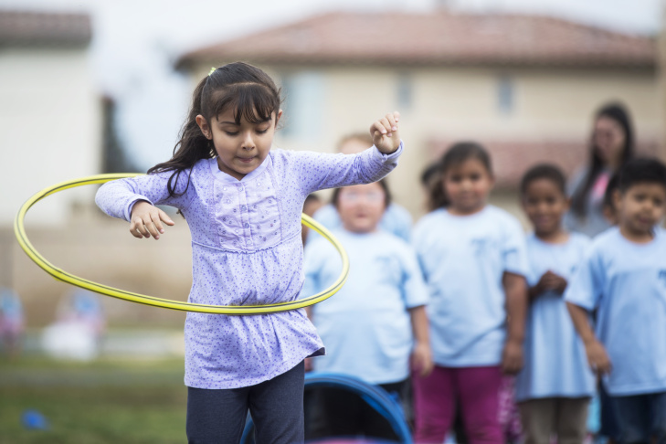Transitional kindergarten students take part in the City of Fullerton's Playgrounds on the Go! program at the Richman School in the Fullerton School District on Tuesday morning, May 24, 2016. The program is one of the four original transitional kindergarten programs in the district.