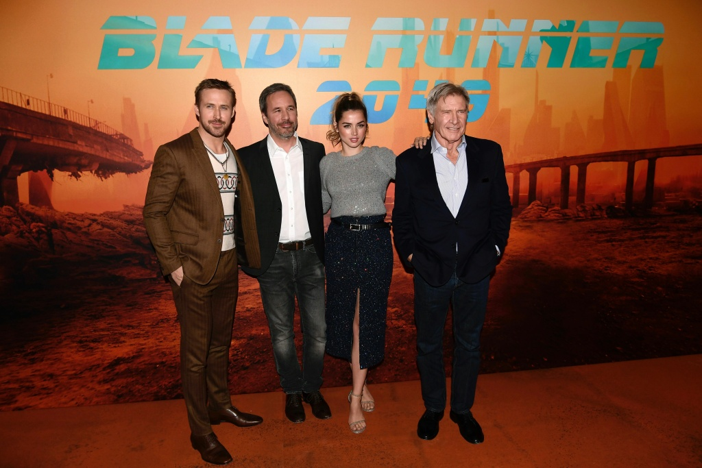 (L-R) Ryan Gosling, Denis Villeneuve, Ana De Armas and Harrison Ford pose during a photocall for the film
