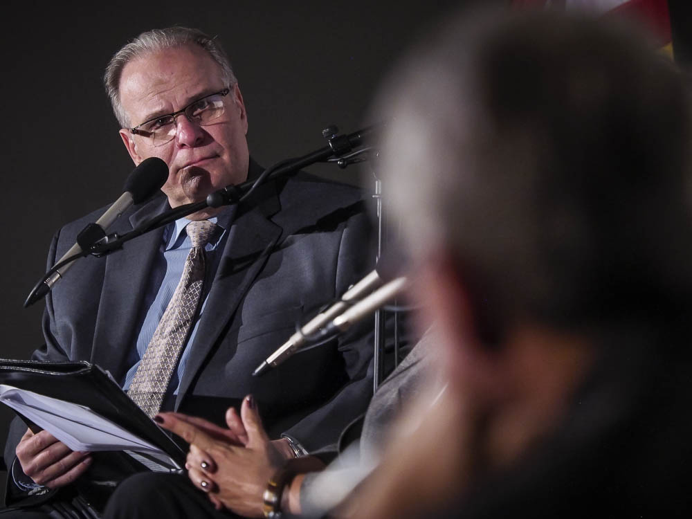 AirTalk Host Larry Mantle at the LA84 discussion on November 5, 2015.