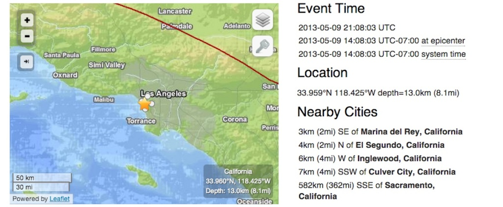 This USGS incident map shows the magnitude 3.0 quake that took place in West L.A. Thursday, May 9.