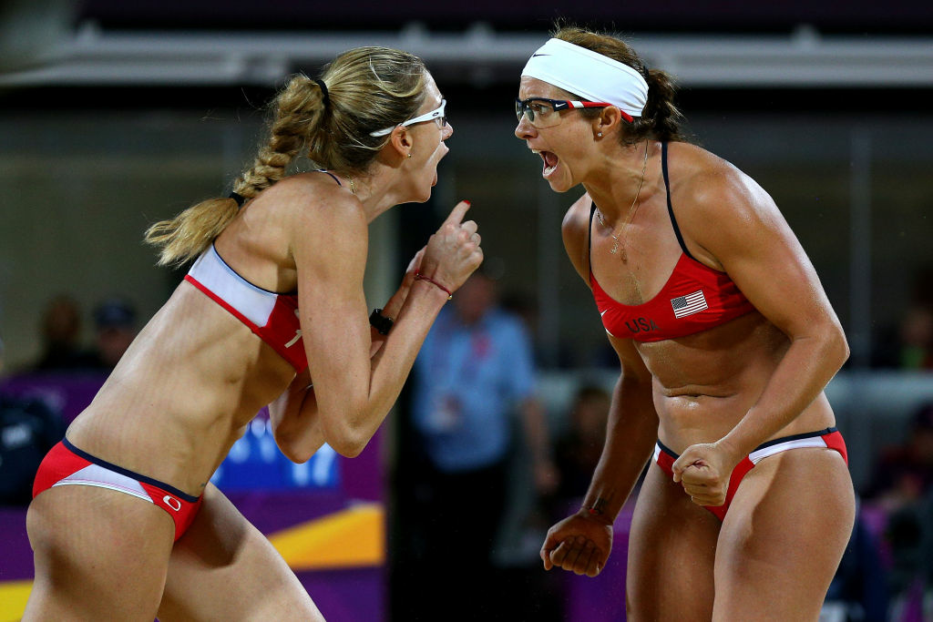 Kerri Walsh Jennings (L) and Misty May-Treanor of the United States celebrates winning the Gold medal in the Women's Beach Volleyball Gold medal match against the United States on Day 12 of the London 2012 Olympic Games at the Horse Guard's Parade on August 8, 2012 in London, England.