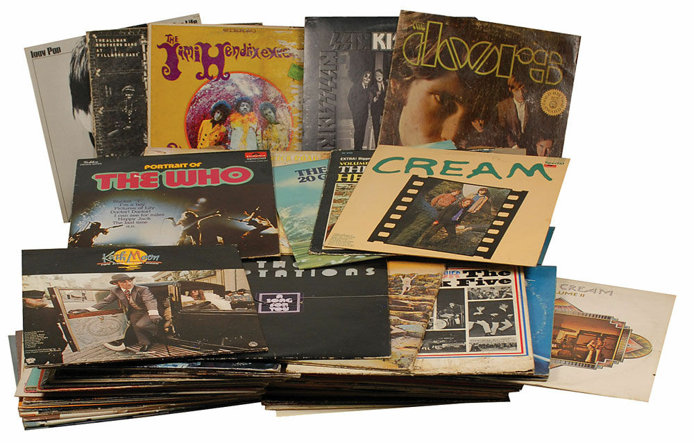 Joey Ramone's personal record collection, consisting of 97 records in their original album sleeves. Some artists include Led Zeppelin, the Who, T. Rex, Cream, Bob Dylan, The Human League, Iggy Pop, the Doors, the Temptations, and the Ventures. In overall very good to fine condition, with various scattered creases and small tears to sleeves, affixed prices tags and labels, and marks to vinyl. Provenance: Joey Ramone Estate. Accompanied by a letter signed by Joey's brother Mickey attesting to the collection's authenticity.