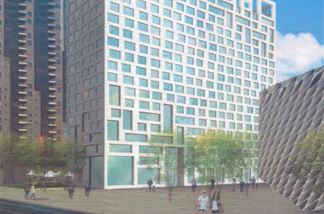 Architect's rendering of the apartment building.