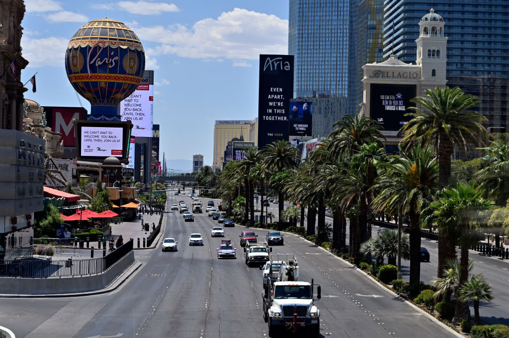 Vehicle traffic moves along the Las Vegas Strip as casinos are beginning to open for the first time since being closed on March 17 because of the coronavirus (COVID-19) pandemic, on June 4, 2020 in Las Vegas, Nevada.