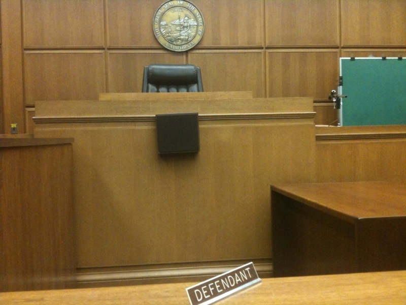 Empty courtroom where layoffs in the Los Angeles Superior Court system were announced March 16, 2010.