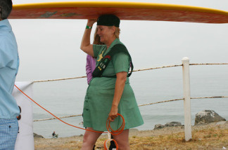 An eager girlscout prepares herself for last year's Doo Dah surf.