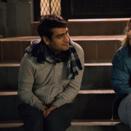 "Actor Kumail Nanjiani and actor Zoe Kazan in ""The Big Sick."""