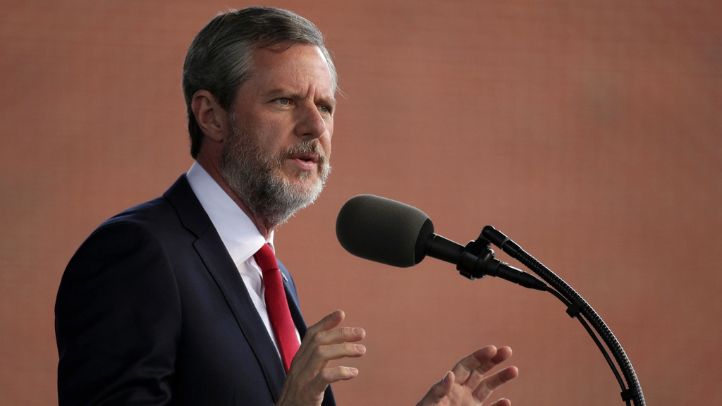 Jerry Falwell Jr., former president of Liberty University, speaks at a university commencement in 2017 in Lynchburg, Va.