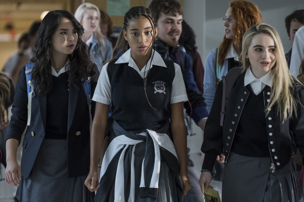 Megan Lawless, Amandla Stenberg, and Sabrina Carpenter in Twentieth Century Fox's THE HATE U GIVE.