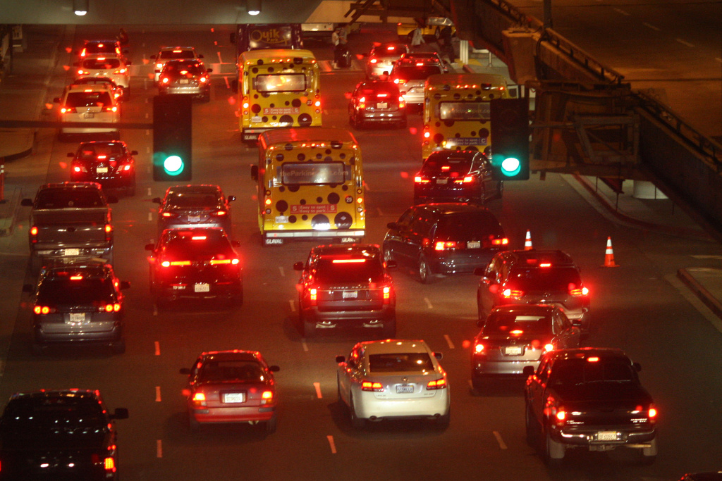 Traffic fills arrival lanes at LAX as people travel to Thanksgiving holiday destinations on November 26, 2014 in Los Angeles, California.