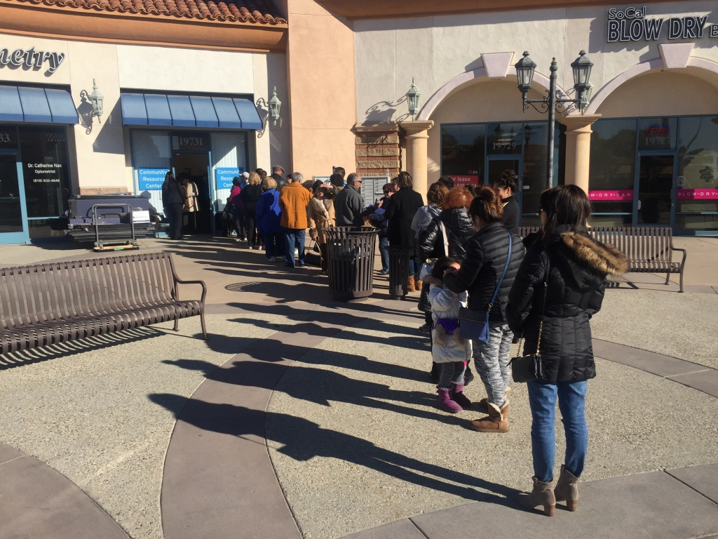 The line outside at the SoCal Gas Community Resource Center in Porter Ranch is frequently long.