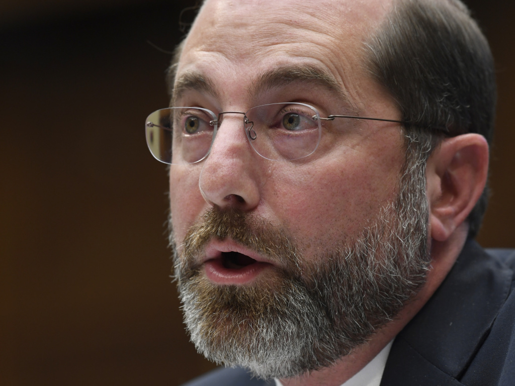 Health and Human Services Secretary Alex Azar testifies before a House Commerce subcommittee on Capitol Hill in Washington, on Wednesday. Azar has been leading the White House coronavirus task force.