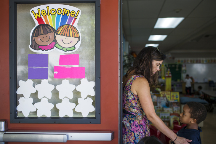 Teacher Cherie Wood, left, works with kindergartener Jeremy Campos at Willard Elementary School in Pasadena, two weeks into the school year, on Wednesday morning, Aug. 31, 2016.