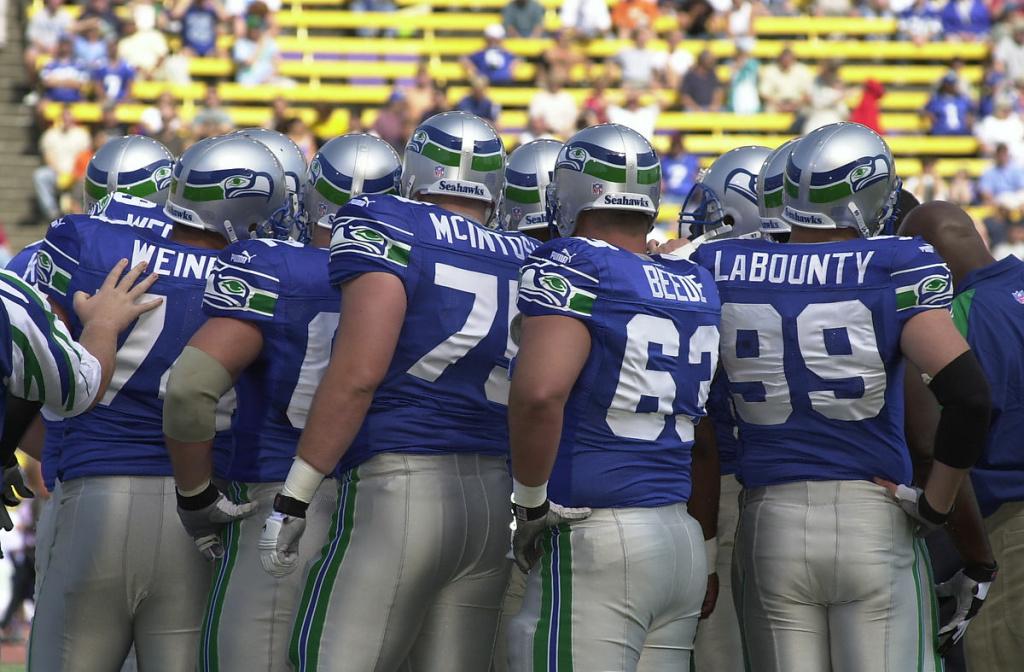Seattle Seahawks huddle in 2000
