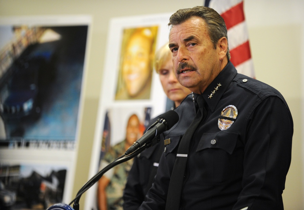 Police Chief Charlie Beck speaks in a press conference during February's manhunt for Christopher Dorner.