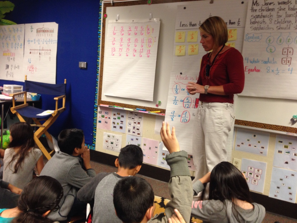 Downey Unified uses fourth-grade math teacher Tanya Bishop's classroom to demonstrate best practices in the new Common Core learning standards.