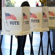 Citizens vote on Election Day at Fire Station #71 in Alhambra, Los Angeles County, on November 6, 2012 in California.