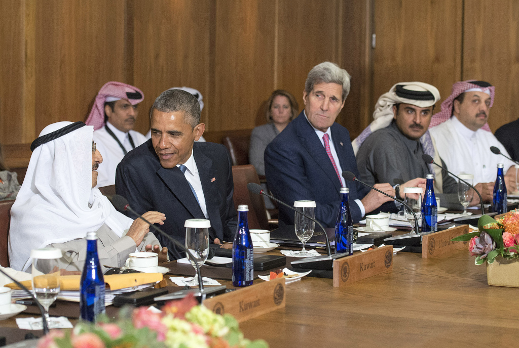 President Barack Obama (2nd-L) talks to Sheikh Sabah Al-Ahmed Al-Jaber Al-Sabah, Amir of the State of Kuwait, as Secretary of State John Kerry (2nd-R), Sheikh Tameem Bin Hamad Al-Thani, Amir of the State of Qatar and Dr. Khalid Bin Mohamed Al-Attiyah, Minister of Foreign Affairs, of Qatar, look on during a working lunch at the Gulf Cooperation Council-U.S. summit on May 14, 2015 at Camp David, Maryland. Obama hosted leaders from Saudi Arabia, Kuwait, Bahrain, Qatar, the United Arab Emirates and Oman to discuss a range of issues including the Iran nuclear deal. The same day, the House passed a bill that would give lawmakers the power to review and potentially reject a nuclear deal with Iran. The president was expected to sign it.