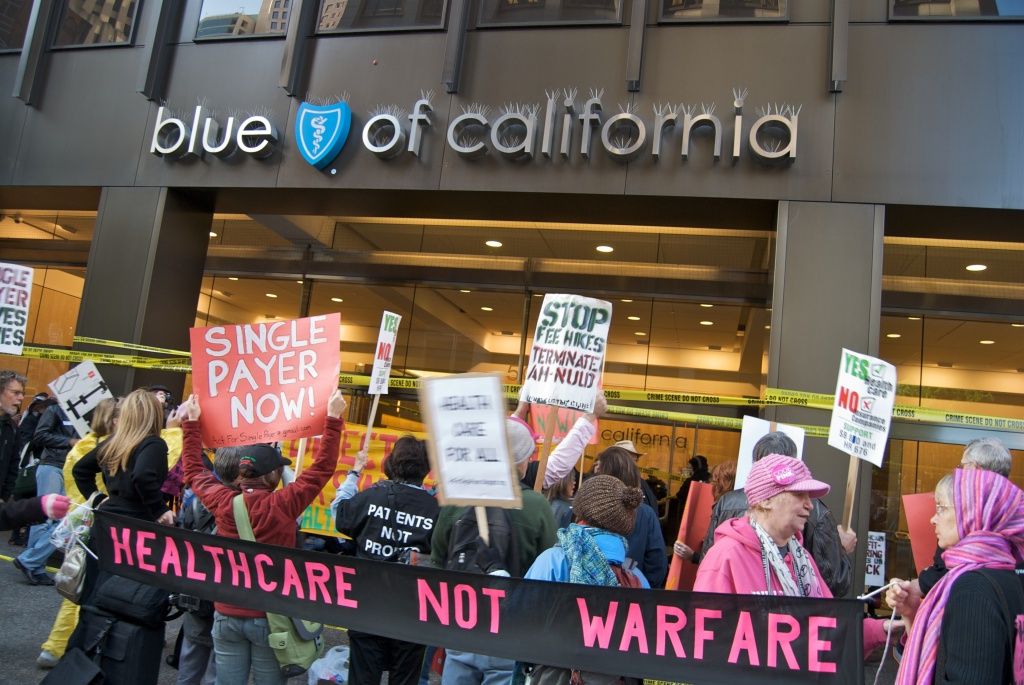 Protesters advocate for health care reform in San Francisco's Financial District on October 28, 2009.