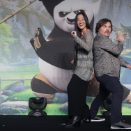 Actor Jack Black (R) and director Jennifer Yuh (L) attend the press conference for 'Kung Fu Panda 3' on January 20, 2016 in Seoul, South Korea.