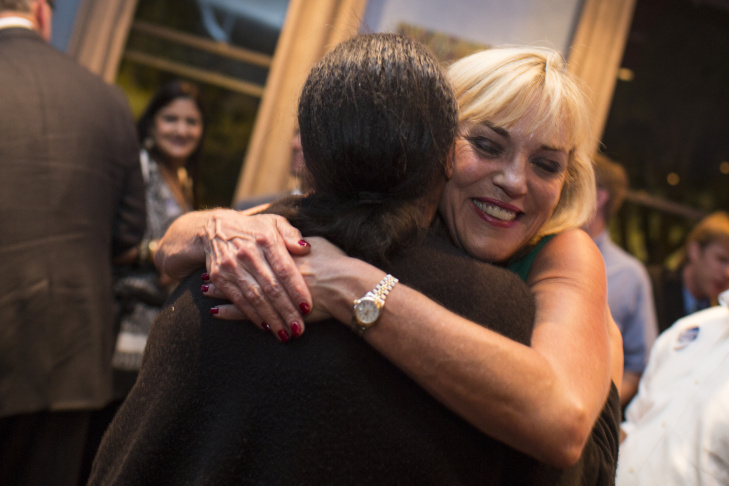 Janice Hahn, Los Angeles County Supervisor District 4 candidate, greets supporters during her election party at the DoubleTree by Hilton Hotel in Norwalk on Tuesday night, June 7, 2016, during the California primary.