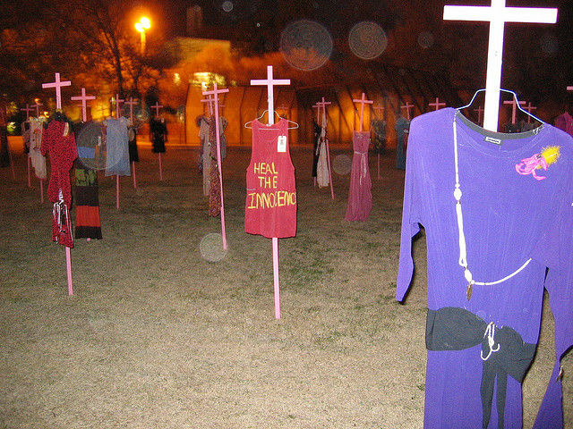 An installation commemorating the Ciudad Juarez murder victims, March 2006