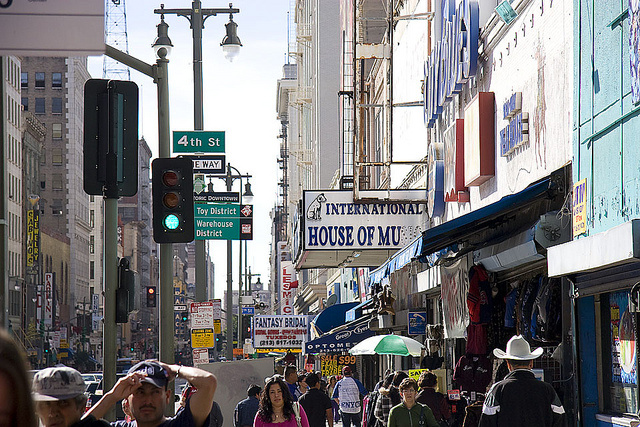 The intersection of Broadway and 4th street in downtown Los Angeles' Historic Core neighborhood.