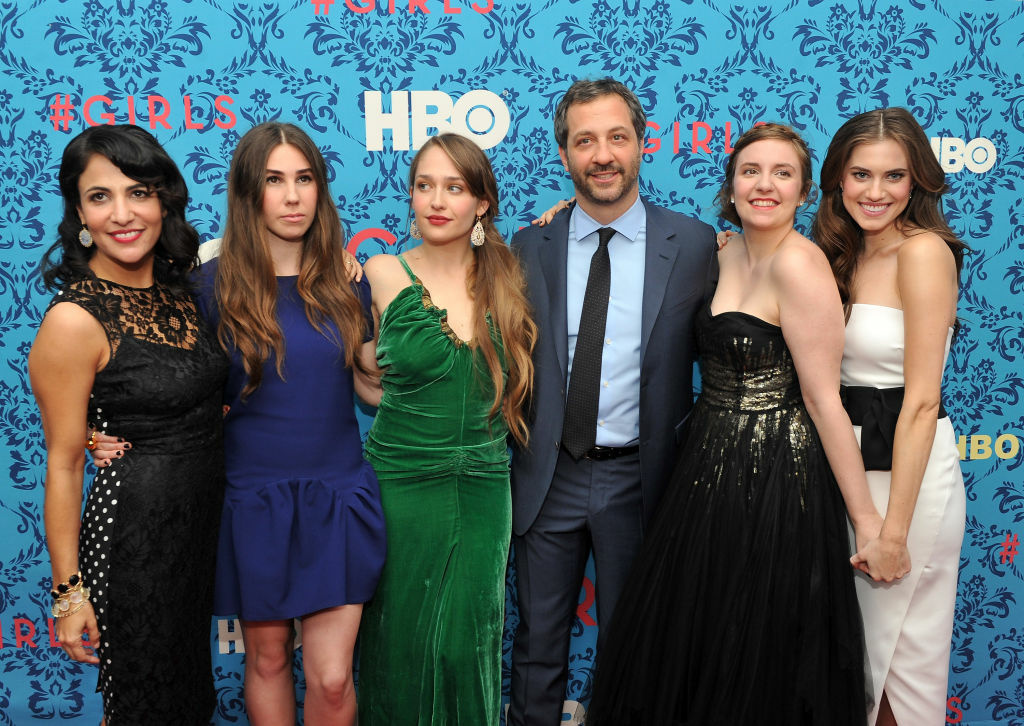 Executive producer Judd Apatow with (L-R) executive producer Jenni Konner, actress Zosia Mamet, actress Jemima Kirke, actress/creator/executive producer Lena Dunham and actress Allison Williams at the 2012 premiere of
