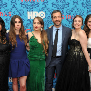 "(L-R) Executive producer Jenni Konner, actress Zosia Mamet, actress Jemima Kirke, executive producer Judd Apatow, actress/creator/executive producer Lena Dunham, and actress Allison Williams at the 2012 New York premiere of HBO's ""Girls"" at the School of Visual Arts Theater in New York City."