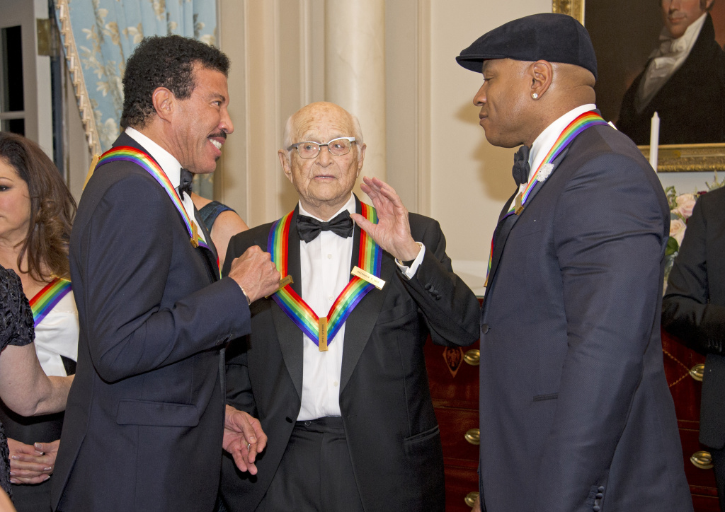 Lionel Richie, left, Norman Lear, center, and LL Cool J, right, three of the five recipients of the 40th Annual Kennedy Center Honors in Washington, D.C.