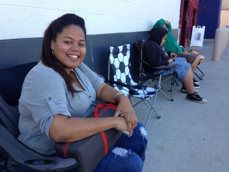 "Kelly Williams will be camped out in front of Best Buy in West L.A. until the store opens on Thanksgiving night. ""I'm a very frugal shopper, and I love knowing I got the absolute best price,"" she said."