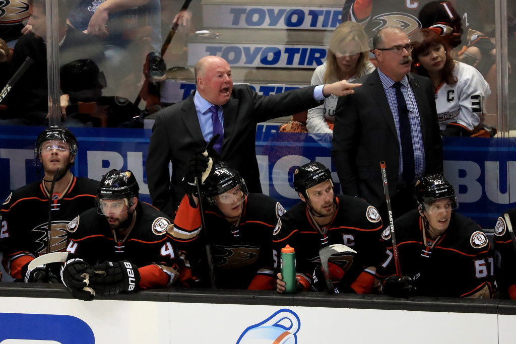 Head coach Bruce Boudreau of the Anaheim Ducks yells at officials during the third period against the Nashville Predators in Game Two of the Western Conference Quarterfinals during the 2016 NHL Stanley Cup Playoffs at the Honda Center on April 17, 2016 in Anaheim, California. The Nashville Predators defeated the Anaheim Ducks 3-2.