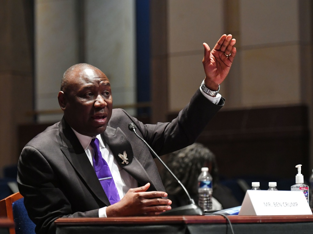 Civil rights attorney Benjamin Crump, shown testifying at a June 10 House Judiciary Committee prompted by the death of George Floyd, announced he is planning a civil lawsuit against