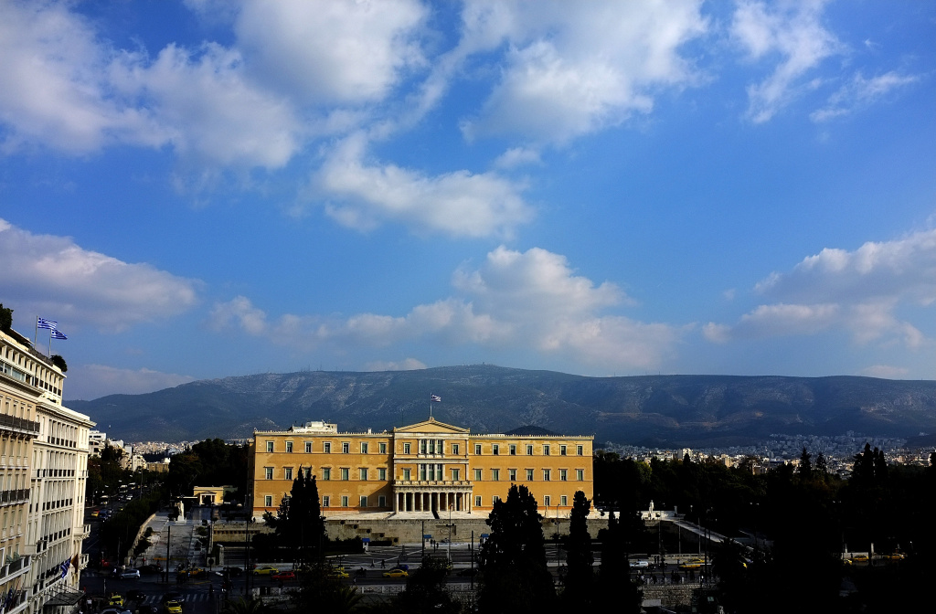 ATHENS, GREECE - NOVEMBER 03:  A general view of the building of the Greek Parliament on the Syntagma (Constitution) Square is pictured on November 03, 2011 in Athens, Greece.