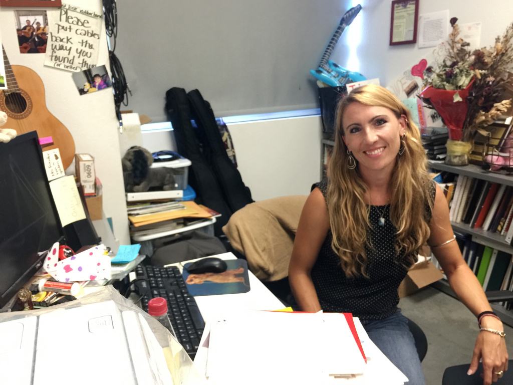 Choral/Guitar Ensemble Director Desiree Fowler in her office at Ramon C. Cortines High School of Visual & Performing Arts in downtown Los Angeles.