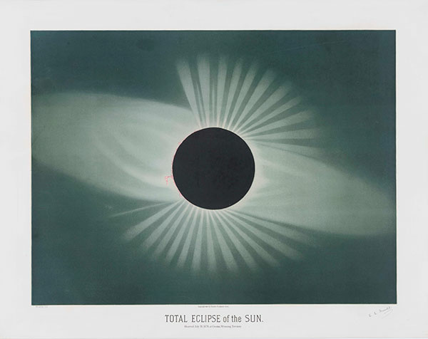 E. L. Trouvelot (1827–1895), Total Eclipse of the Sun, 1881, color lithograph