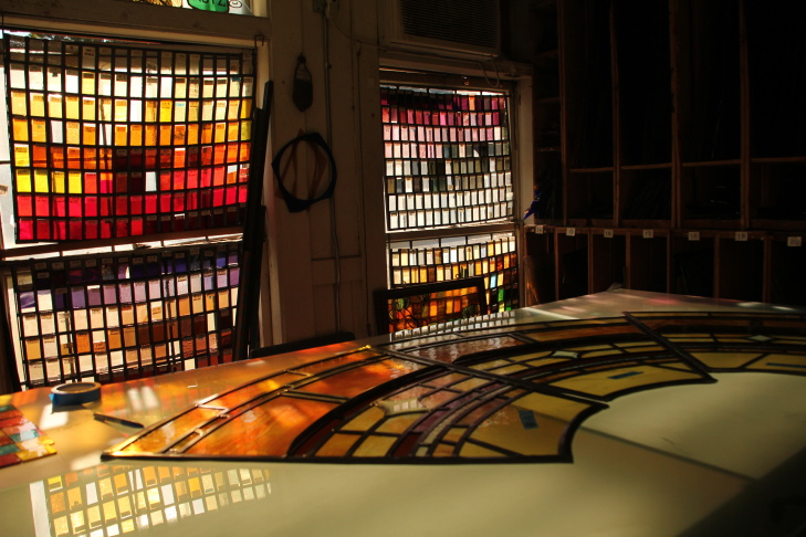 The glass room at the Judson Studios in Highland Park. Five generations of Judsons have made stained glass windows here.