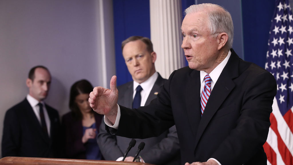 File: Attorney General Jeff Sessions delivers remarks during the daily White House press briefing.