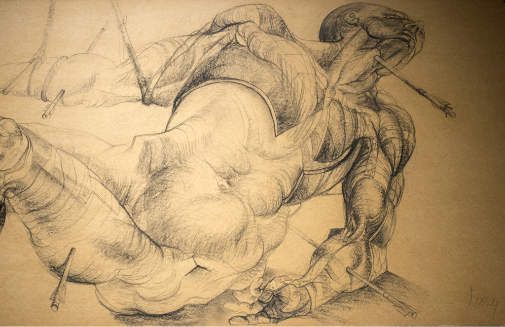 Jan Stussy: Detail, variation on St. Sebastian, 1957, charcoal on composition board, 24 x 60 in., Woodbury University. At