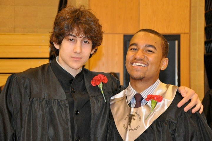 Dzhokhar A. Tsarnaev (left) and WBUR Boston's Here & Now host Robin Young's nephew (right) are pictured in a graduation photo. She met Tsarnaev at a prom party she threw at her house for her nephew and his school friends. (Courtesy: Robin Young)
