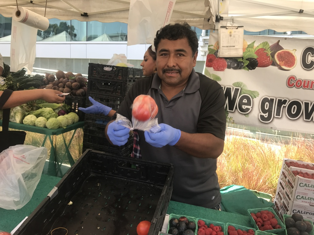 A vendor with C & L Farms based in San Luis Obispo bags a tomato for a customer at the MLK hospital campus farmers market.