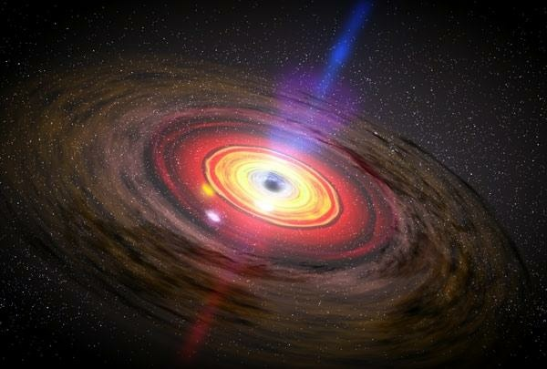 Artist concept of matter swirling around a black hole.