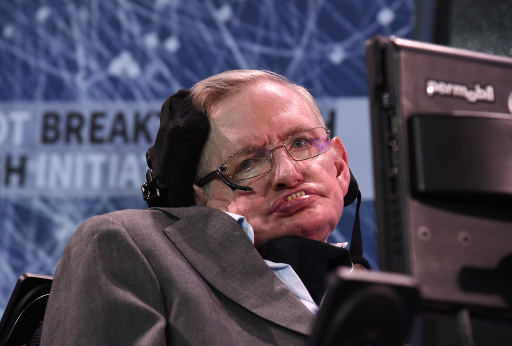 Stephen Hawking at a press conference to announce Breakthrough Starshot, a new space exploration initiative, at One World Observatory on April 12, 2016 in New York City.