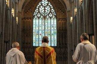 Catholic clergy during mass.
