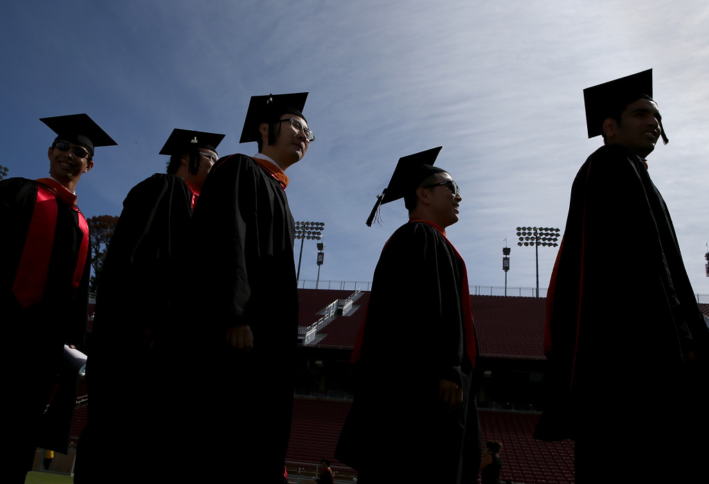 Graduating Stanford University students partcipate in the