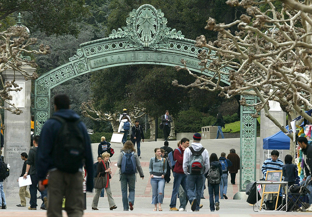Students walk near Sather Gate on the University of California at Berkeley campus February 24, 2005 in Berkeley, California.