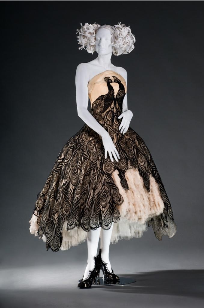Alexander McQueen's iconic peacock dress, Fall/Winter 2008-09, silk organza, tulle & lace. (Credit: Brian Sanderson/FIDM)