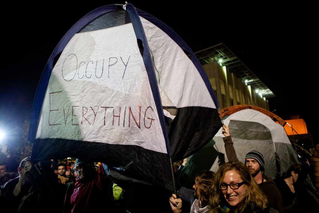 University of California, Berkeley students set up tents after a general assembly voted to again occupy campus as part of an