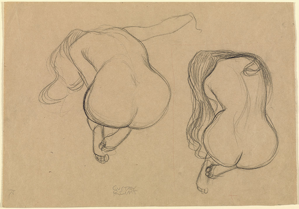 Two Studies of a Seated Nude with Long Hair, about 1901–2, Gustav Klimt, black chalk and red pencil.
