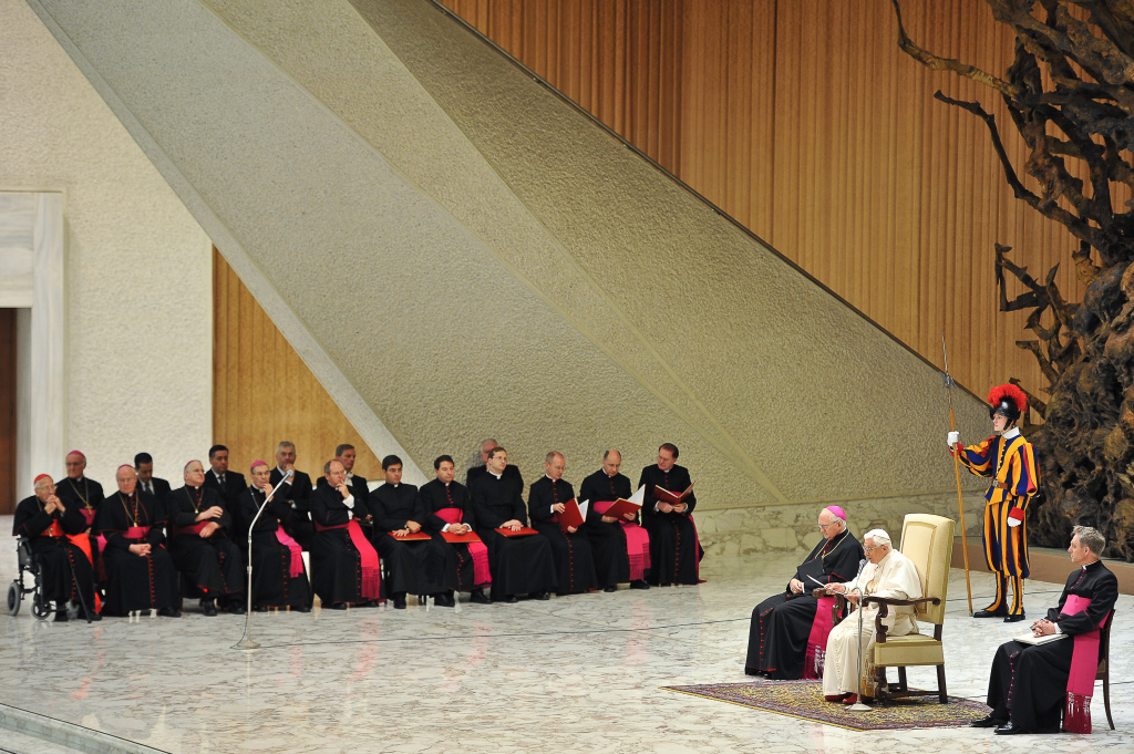 Pope Benedict XVI delivers his speech to the faithful gathered in Aula Paolo VI at the Vatican during his weekly general audience on January 4, 2012.